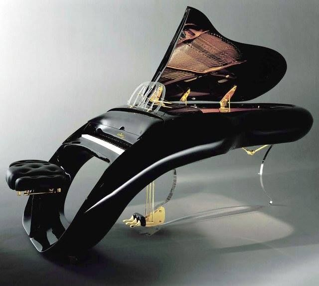 A modern spin on the traditional grand piano.
