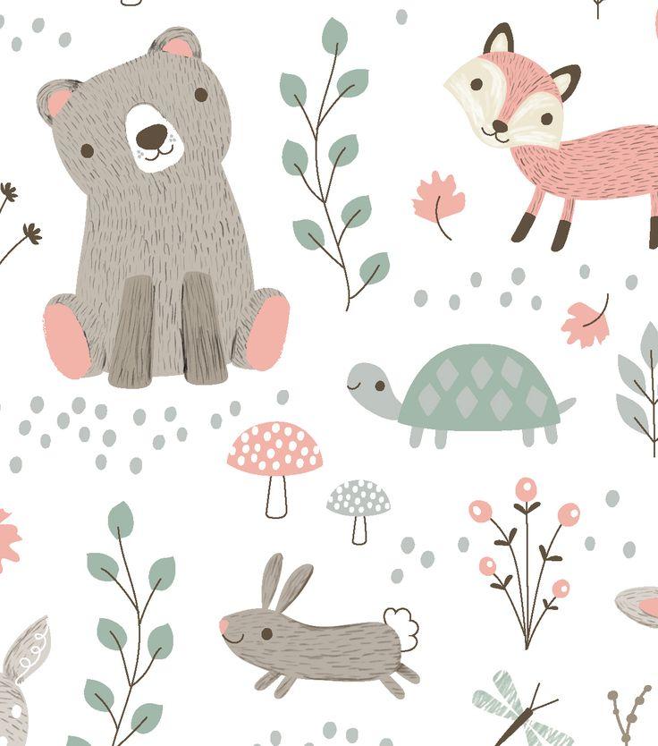 Nursery Cotton Fabric 43 Woodland Animals Baby 2 Nursery Fabric Woodland