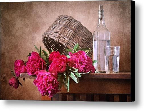 $75 • Canvas Print: http://nikolay-panov.artistwebsites.com/products/pink-peonies-and-old-basket-nikolay-panov-canvas-print.html • Floral #stilllifephotography with bouquet of fresh #pinkpeonies, old #strawbasket and #whitebottle of water on #woodentable in #countryside in #summertime