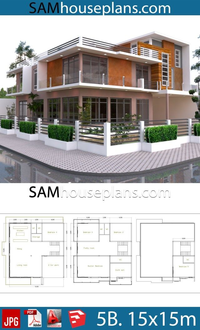 House Plans 15x15 With 5 Bedrooms Sam House Plans Dream House Plans Bedroom House Plans House Plans