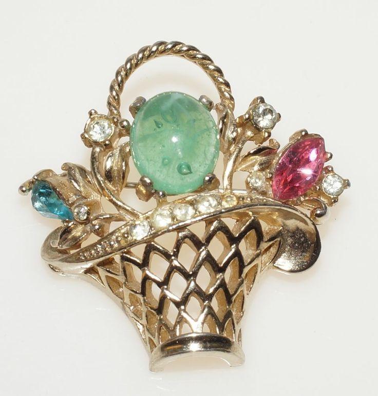 "Estate Vintage Coro Gold Tone Green Jelly Belly Fruit Flower Basket Brooch 1.75"""
