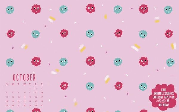 October confetti and pom pom wallpaper by AndSmile for Mollie Makes 58 | Free desktop wallpaper.
