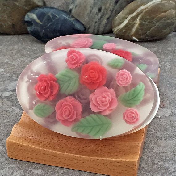 Rose Garden Handmade Glycerin Oval Bar Soap by AlaiynaBSoaps