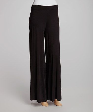 Take a look at this Black Wide Leg Palazzo Pants by Survival on #zulily today!