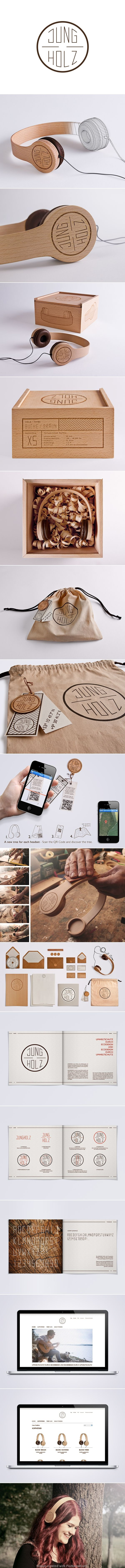 JUNGHOLZ Kopfhörer | Nice wood based #packaging and #identity design of Kristina Düver | Ivan Giorgetti > Behance