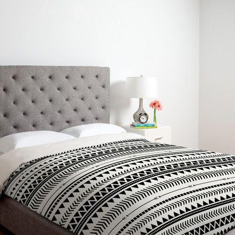 Allyson Johnson Black And White Aztec Pattern Duvet Cover
