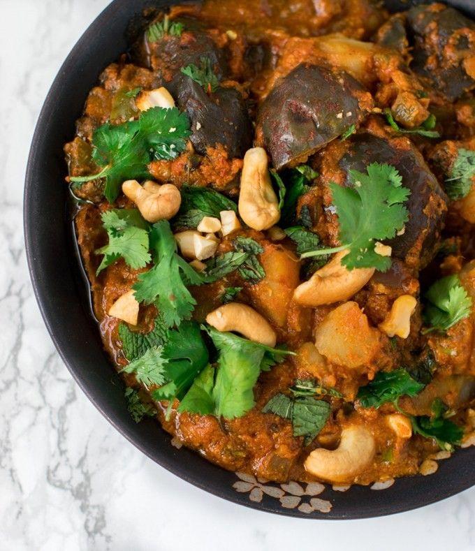 Instant Pot Aloo Baingan Masala / Potato Eggplant Curry Recipe Vegan