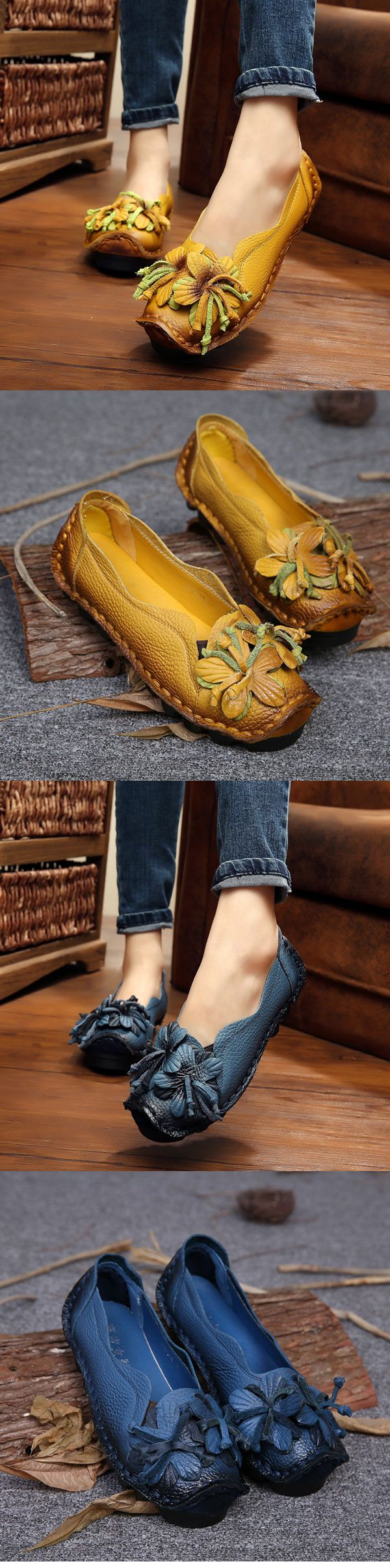 US$26.46 Socofy Genuine Leather Handmade Flower Loafers Soft Flat Casual Shoes