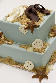 classy beach sheet cake - Google Search