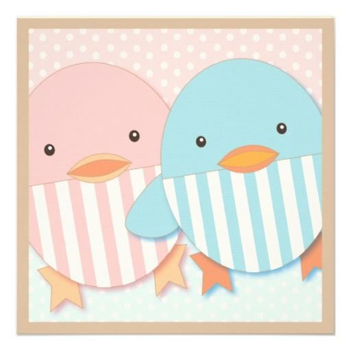 Twins baby card see more for a duck or bird theme shower folded card stock dots stripes