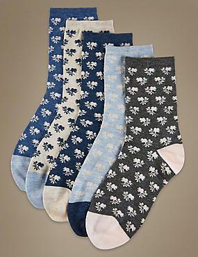 5 Pair Pack Floral Print Ankle High Socks