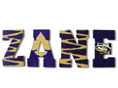 Custom Painted LSU Wooden Name Letters Wall by CuteBoutiqueLetters, $12.00