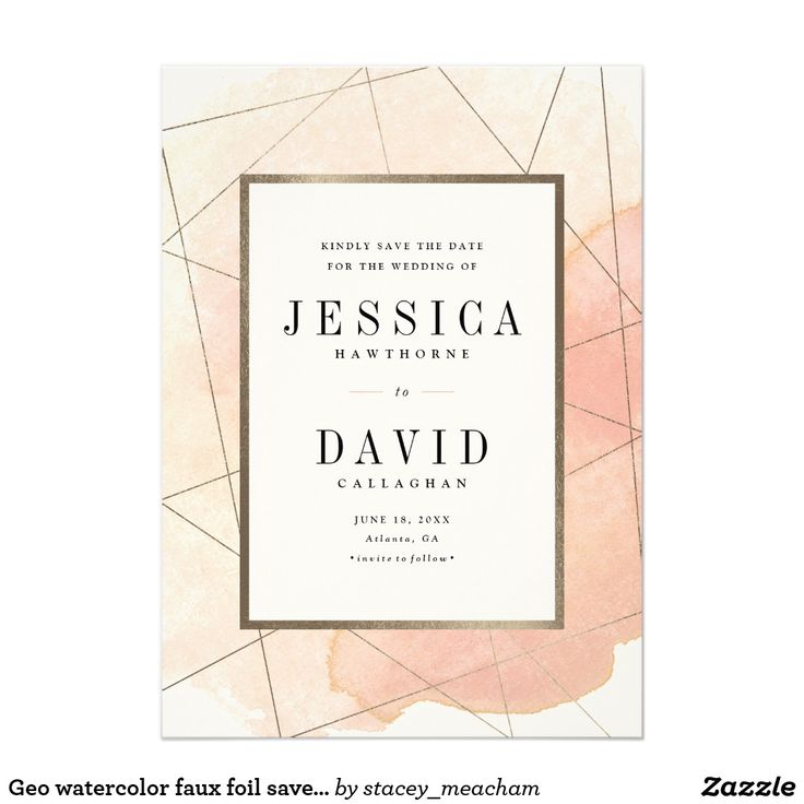 Geo Watercolor Faux Foil Save The Datecard Card
