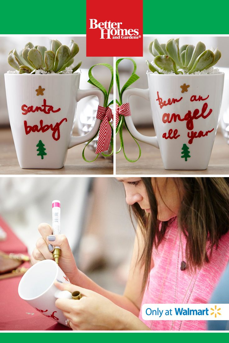 Decorate a simple white mug using oil-based paint markers and fill with a plant for a DIY holiday present! Created by: @bhalford