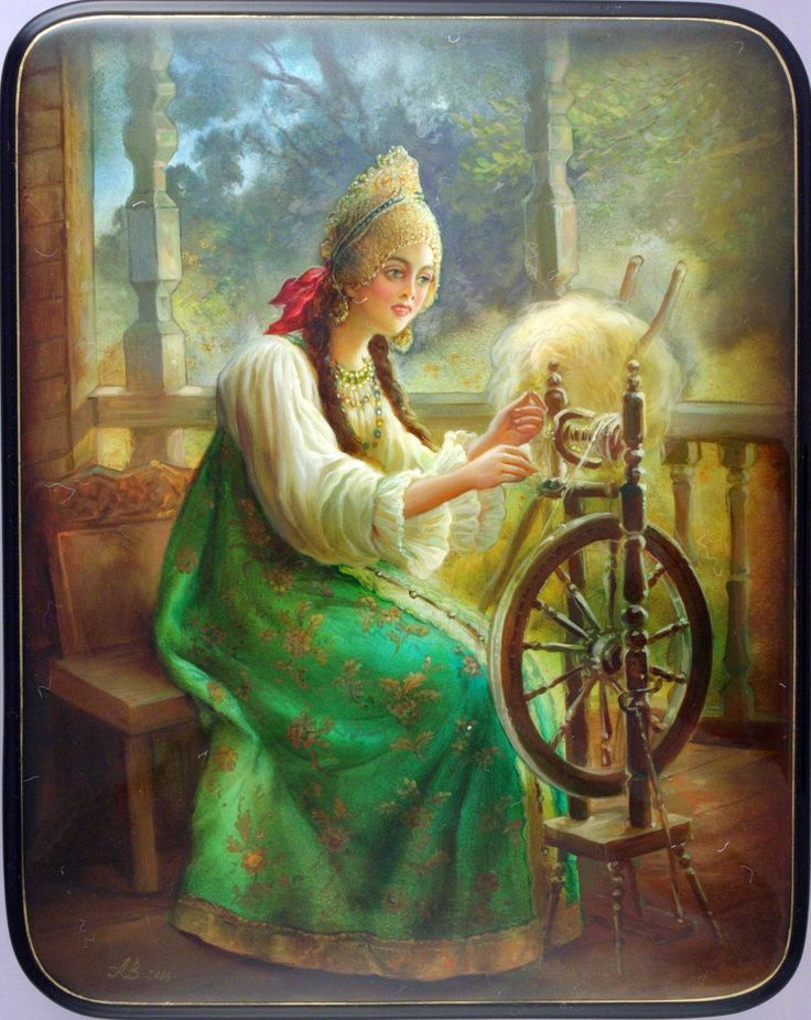 """Fedoskino. Russian Lacquer Art Titled """"Spinner"""" Artist  A. Vosonin"""