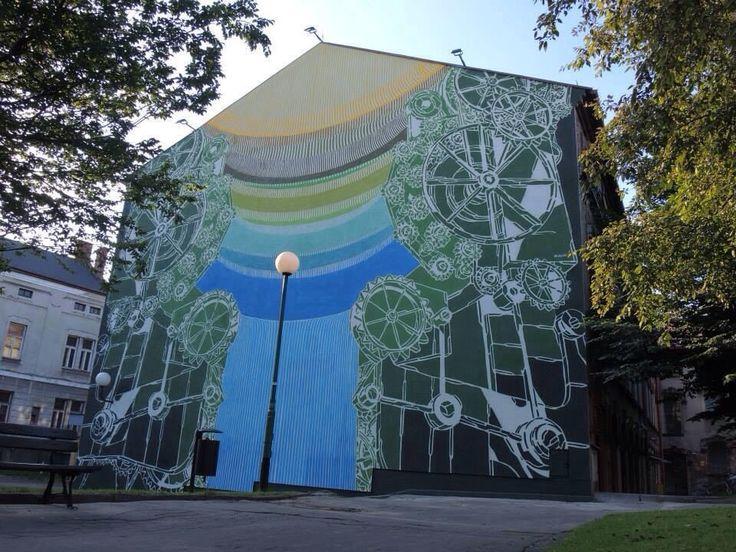 Mural, Old Factory Museum in Bielsko-Biała, Poland