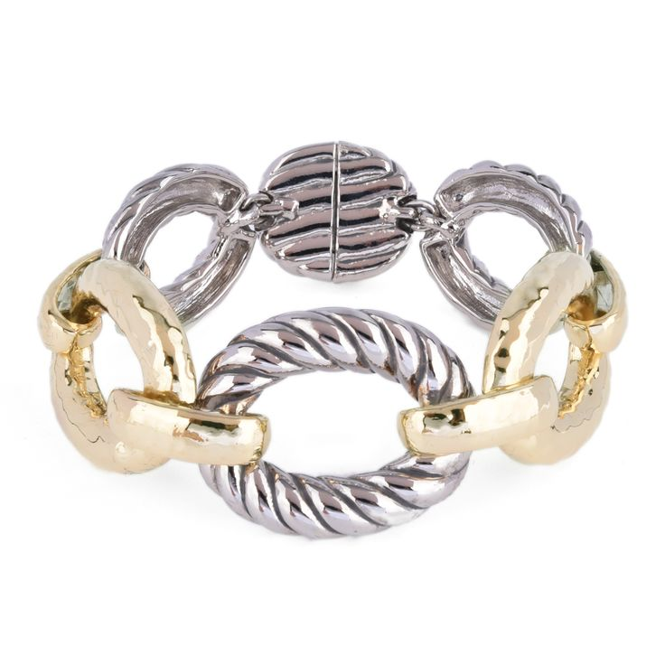 Two Tone Chunky Oval Bracelet. Mommies deserved to be stylish and chic on this very special day! Easy to wear, with magnetic closure.