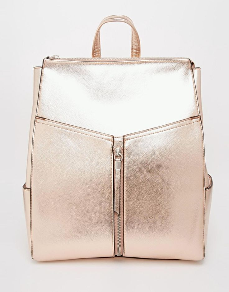 New Look Rose Gold Cross Hatch Backpack $39