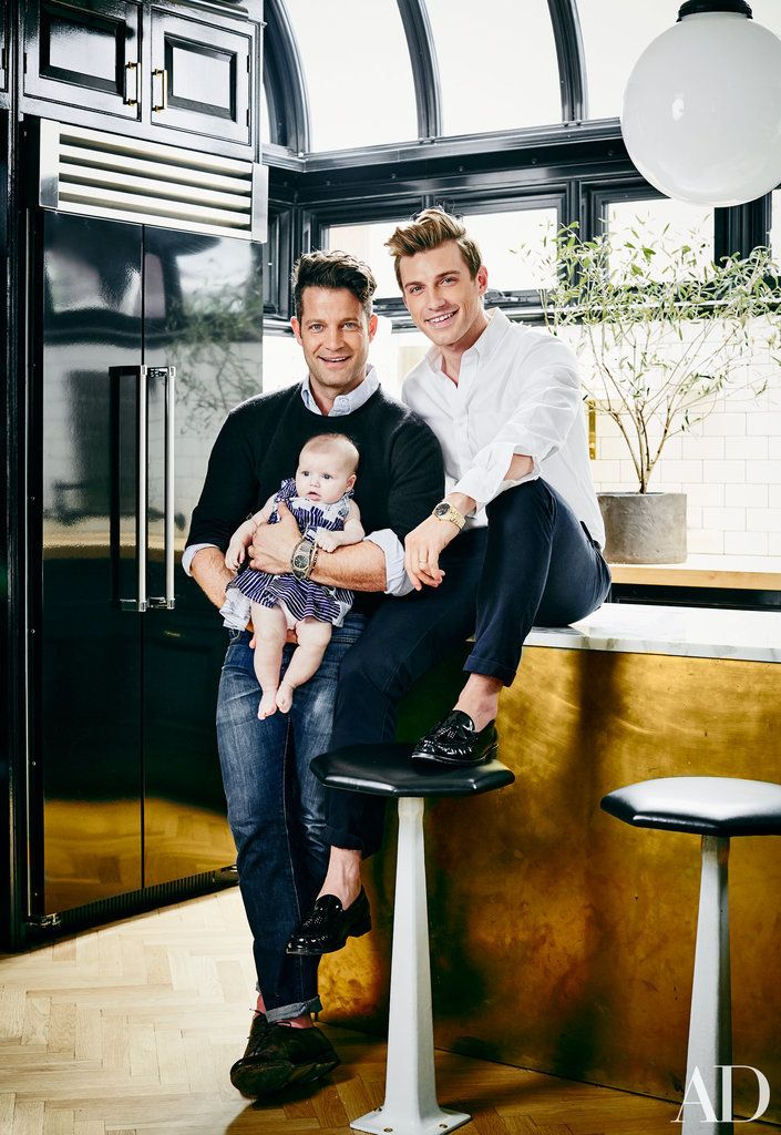 Nate Berkus and Jeremiah Brent's New York kitchen combines black with brass accents.