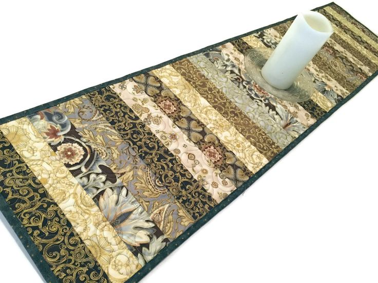 Elegant Table Runner Quilt In Black, Gray And Taupe, Esmerelda Floral  Quilted Table Runner, Quiltsy Handmade