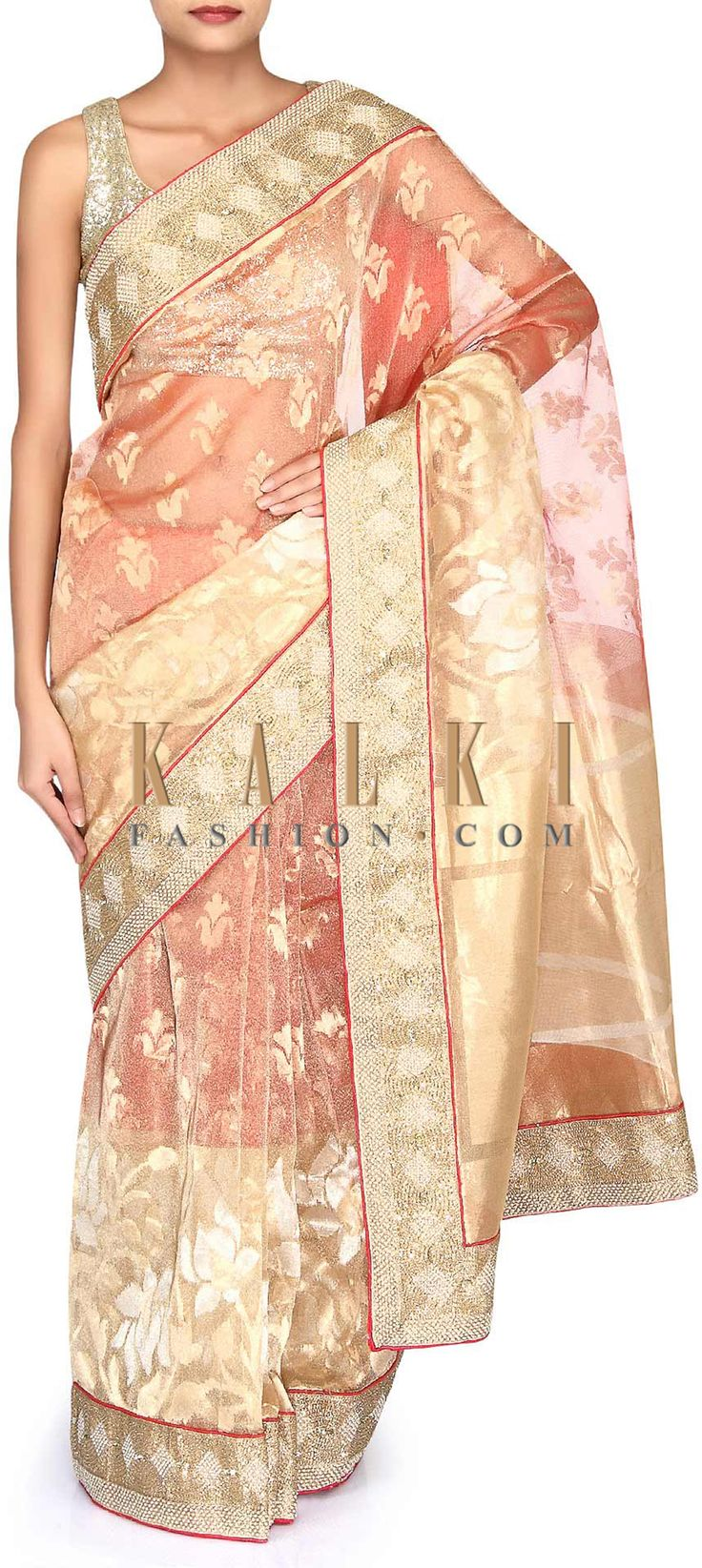 Buy Online from the link below. We ship worldwide (Free Shipping over US$100). Product SKU - 302885. Product Link - http://www.kalkifashion.com/shaded-saree-in-gold-and-red-chanderi-silk-adorn-in-embroidered-border-only-on-kalki.html