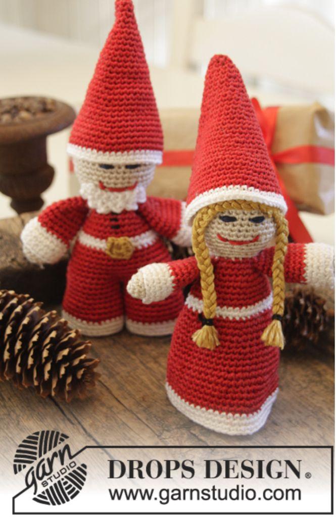 """DROPS Jul: Hæklede julenisser i """"Cotton Viscose"""" Klik her for at se og printe opskriften.  Det skal du bruge: Mål: ca 20 cm med hue på. Garn: 100g Cotton Visco"""