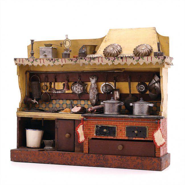 kitchen unit with water tank, around 1900,