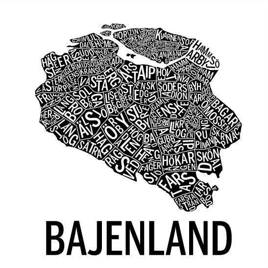 Print Bajenland i färgen svart