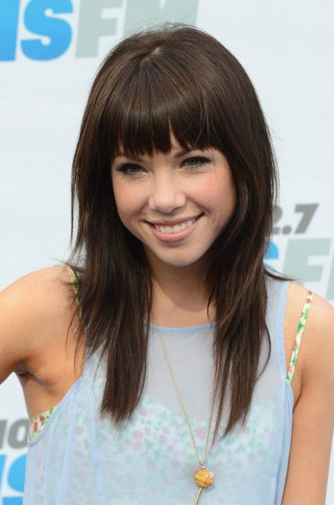 Layered Hairstyles With Bangs   Carly Rae Jepsen Cute Layered Long Hairstyle with Blunt Bangs
