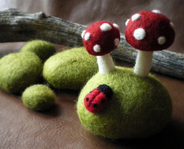 Felted pincushion, ladybird and mushrooms