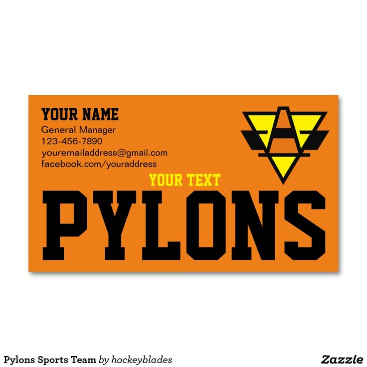 #Pylons Sports Team Business Card Keep in contact with potential prospects for your #sports team #businesscard