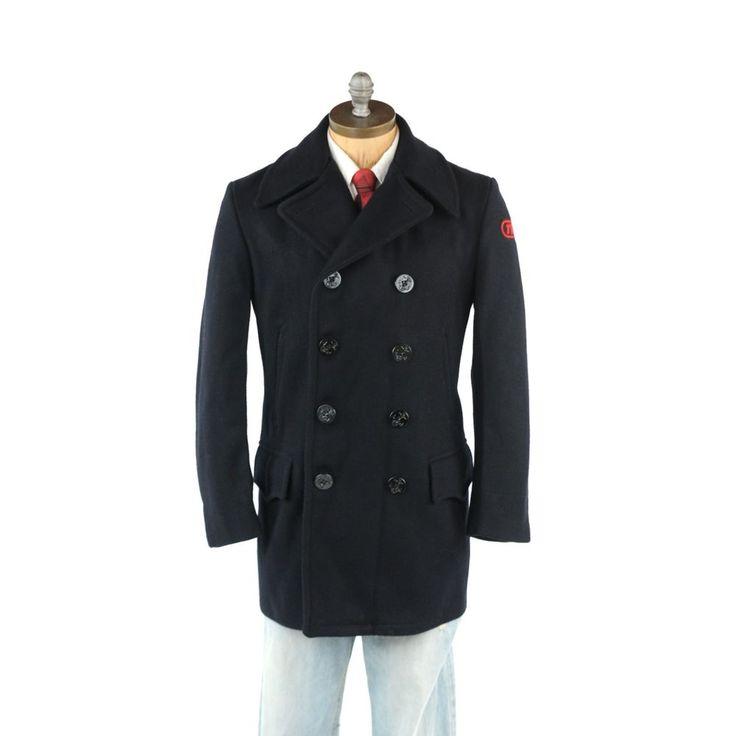 Vintage Men&39s 70s TWA Airlines Uniform Navy Blue Pilot 100% Wool