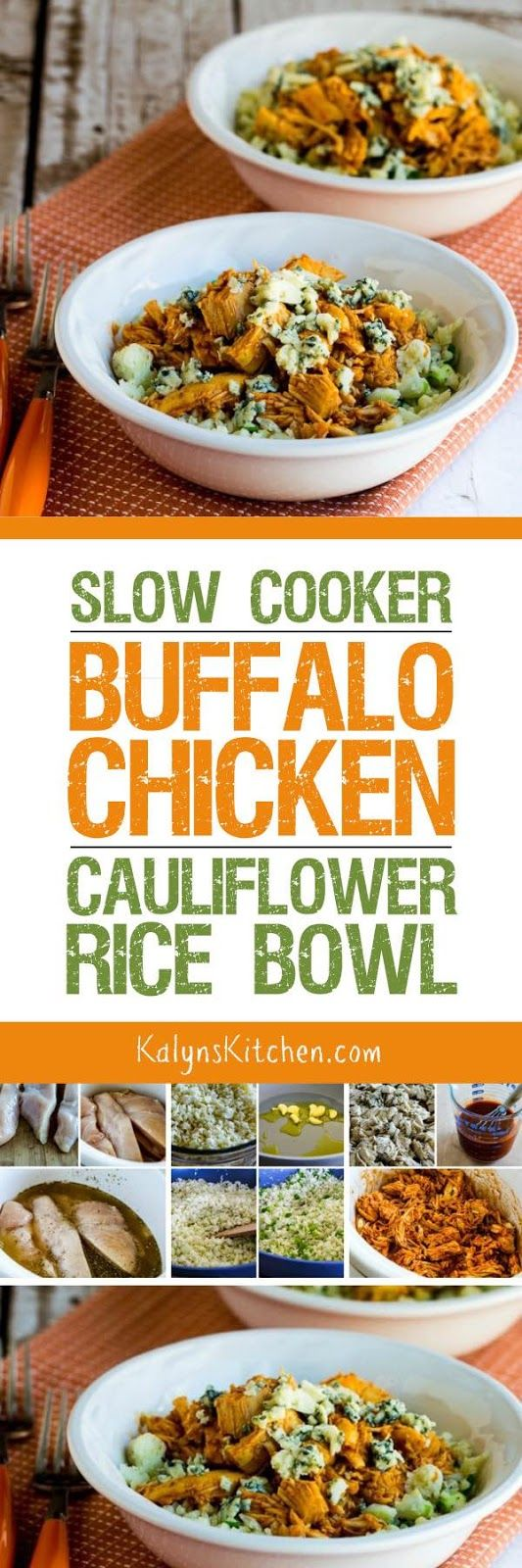 This Slow Cooker Buffalo Chicken Cauliflower Rice Bowl is an amazing low-carb chicken dinner from the slow cooker! If you like the flavors of buffalo chicken, you'll love this meal! [found on KalynsKitchen.com]