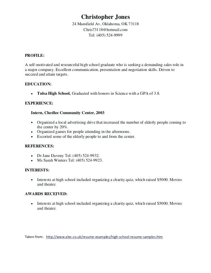 Awards 4-Resume Examples Resume examples, High school resume