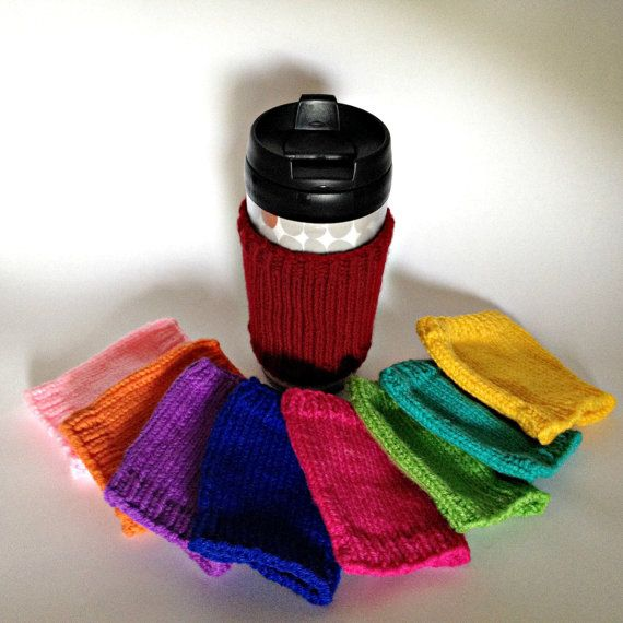Hand knit coffee cozies in lots of colours!