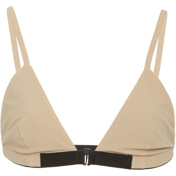 Solid & Striped Triangle Bikini Top ($80) ❤ liked on Polyvore featuring swimwear, bikinis, bikini tops, neutral, pink bikini top, striped bikini, underwire bikini, triangle bikinis and striped bikini top
