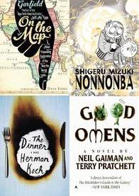 March Book Reviews - http://www.lesliebeslie.com/2013/04/03/march-reads-recap-bookgenre-book-author/ - On The Map, Nononba, Good Omens, The Dinner