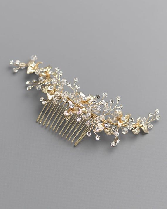 Gold Hair Comb Crystal Bridal Hair Piece Wedding Jewelry Rhinestone Gold Hair Combs Old Hollywood Statement Bridal Headpiece