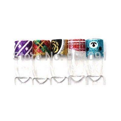 Оптовая 50 Листов/МНОГО 3D Блеск Французский Стикер искусства ногтя 24 различных конструкций ногтей французский стикер + индивидуально упаковка