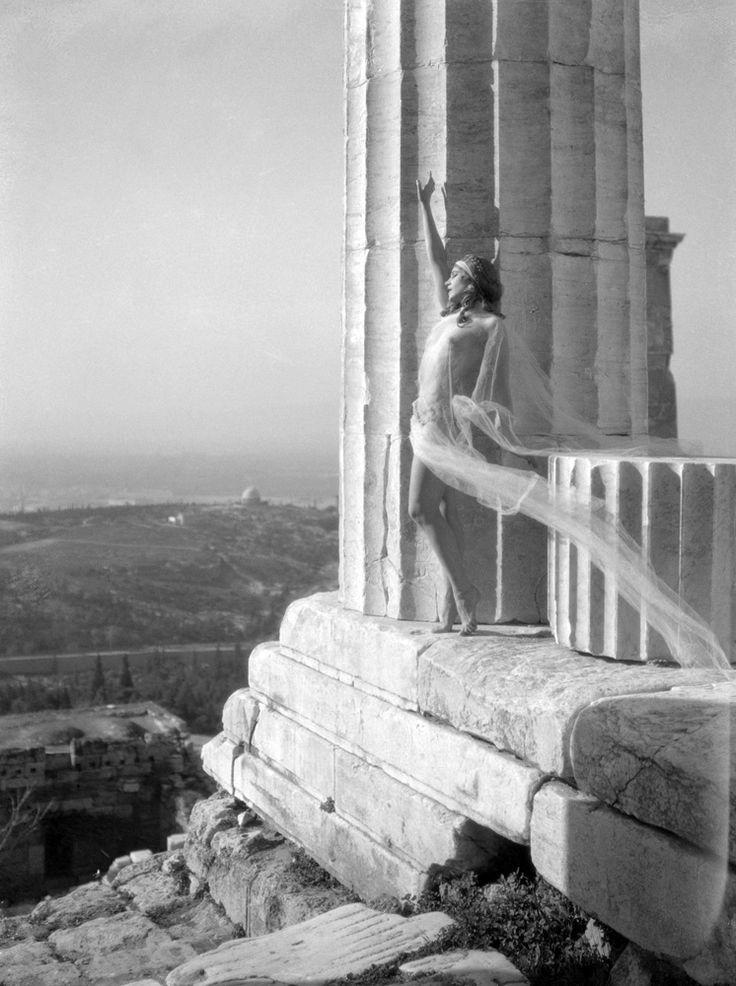 """Nelly's Mona Paeva at the Acropolis (1929). Elli Sougioultzoglou-Seraidari AKA """"Nelly's"""", photographer (1899-1998)"""