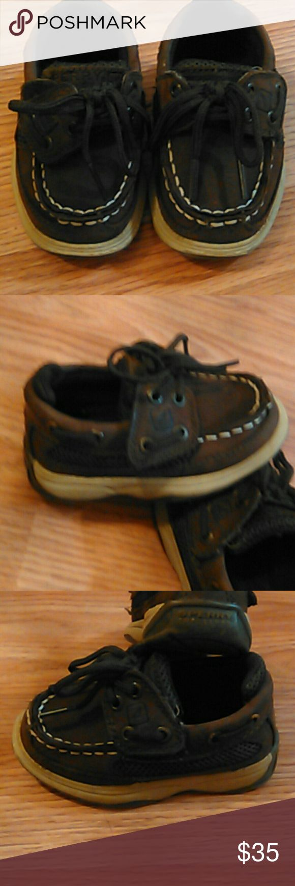 Sperry shows baby size 5M Sperry brand baby shoes size 5 M. Brown colors nice condition gently /rarely used. Velcro . Only looks like they tie. Really cute pair of shoes for your handsome little man!! Sperry Shoes Baby & Walker