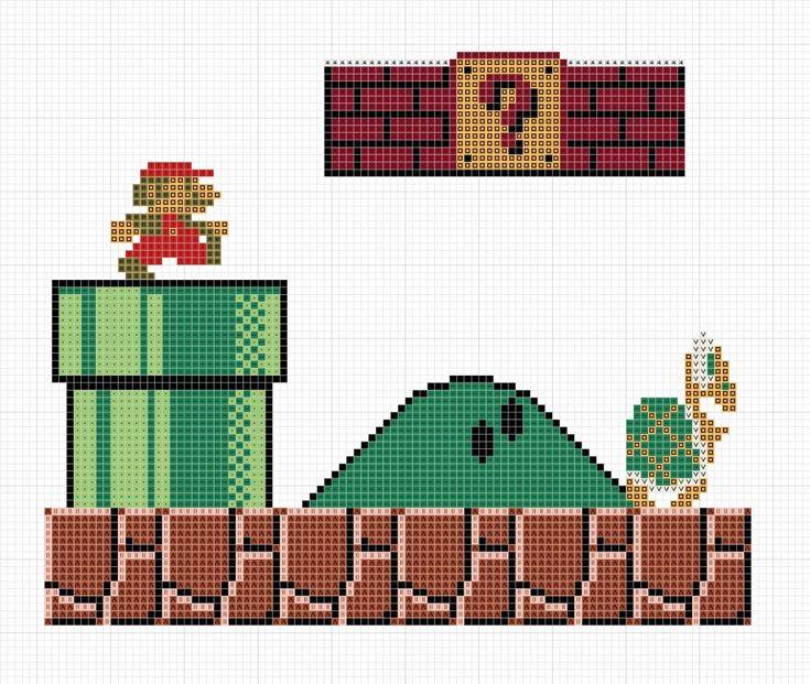 Free Mario Bros Cross Stitch Pattern