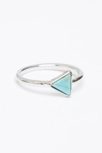 Brandy ♥ Melville | Triangle Turquoise Stone Ring - Jewelry - Accessories