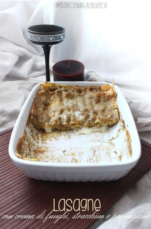 Lasagne con crema di funghi, stracchino e parmigiano