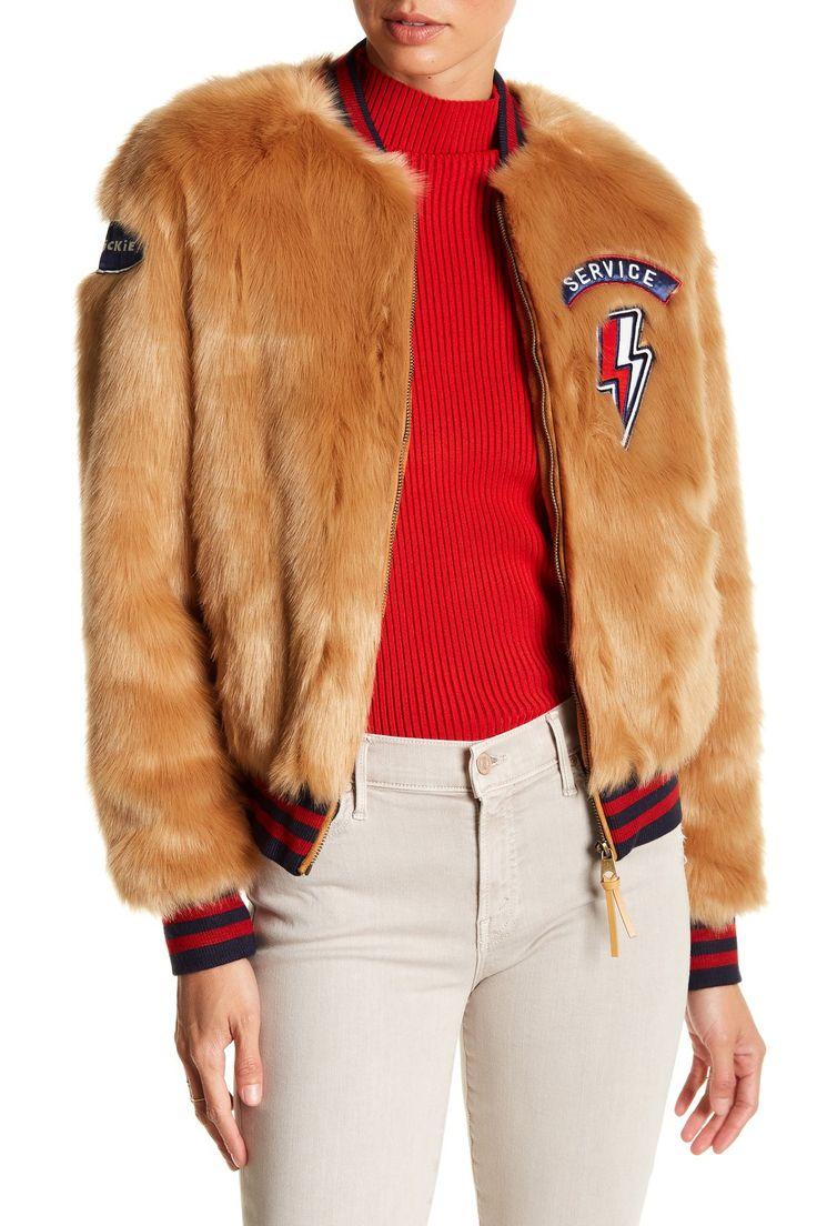 The Letterman Patch Faux Fur Jacket