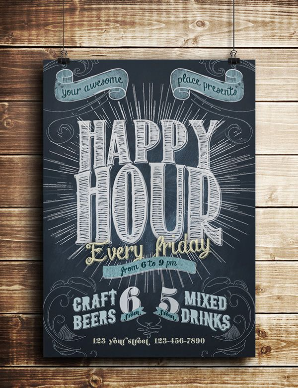Happy Hour Chalkboard Indie Flyer On Behance Poster Flyer