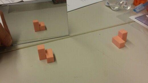Tee rakennelma värisauvoista. Aseta peili jollekin puolelle rakennelmaa. Rakenna peilikuvan mukainen rakennelma peilin taakse.