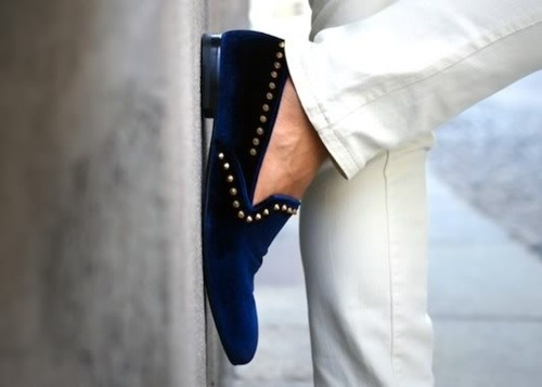lovin some velvet stud loafers