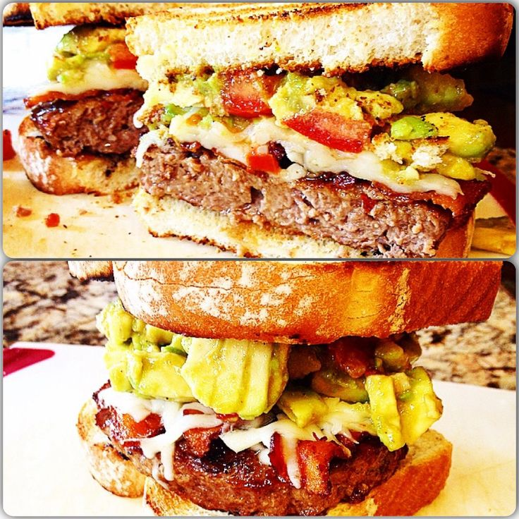 Guacamole and mozzarella cheese burger