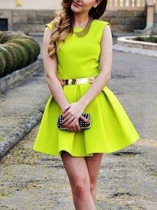 Neon Flare Dress